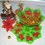 Christmas Poinsettia Bowl with Doily