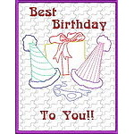 Trapunto Birthday Greeting Cards 02
