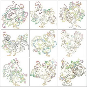 Ink Roosters - Colourful