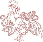 Ink Roosters - Redwork